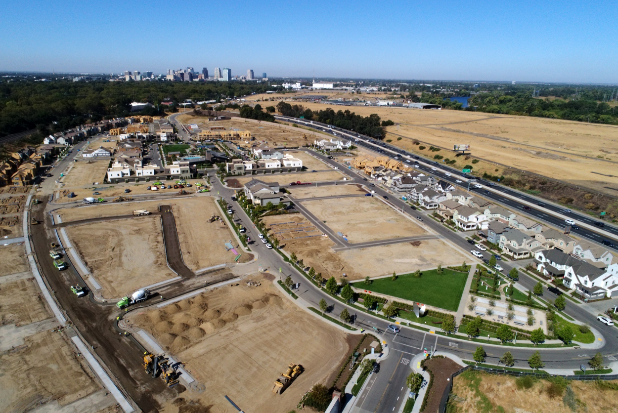 aerial view of landscaping at a new residential community